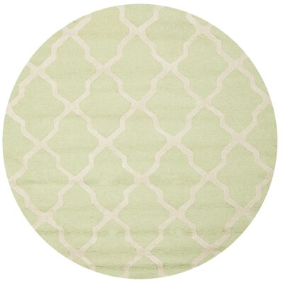 Martins Light Green/Ivory Area Rug Rug Size: Round 6