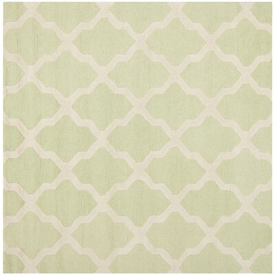 Charlenne Light Green/Ivory Area Rug Rug Size: Square 8