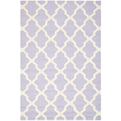 Charlenne Hand-Tufted Lavender/Ivory Area Rug Rug Size: Rectangle 26 x 4