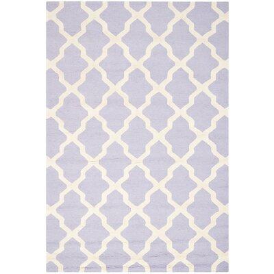 Charlenne Wool Lavender & Ivory Area Rug Rug Size: 6 x 9