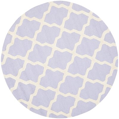 Charlenne Wool Lavender & Ivory Area Rug Rug Size: Round 6
