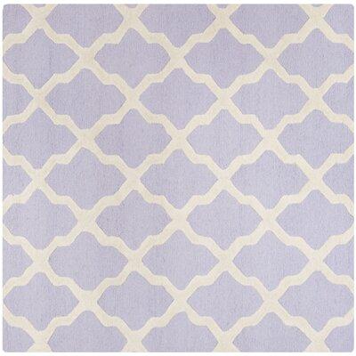 Charlenne Hand-Tufted Lavender/Ivory Area Rug Rug Size: Square 6