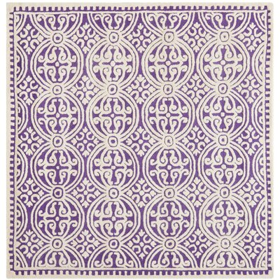 Martins Purple / Ivory Area Rug Rug Size: Square 6