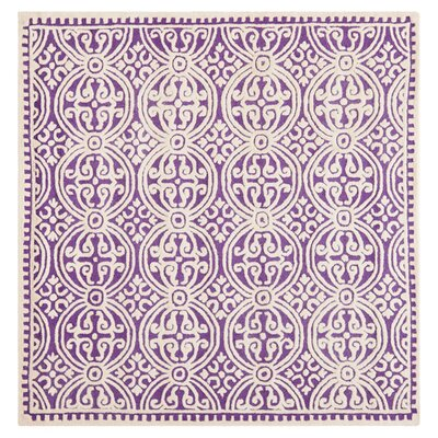 Martins Purple / Ivory Area Rug Rug Size: Square 4