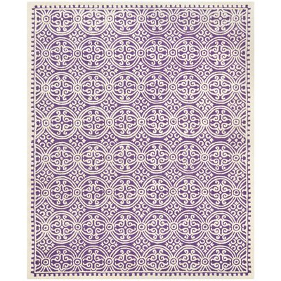 Martins Purple / Ivory Area Rug Rug Size: 10 x 14
