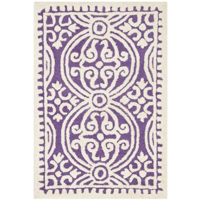 Martins Purple / Ivory Area Rug Rug Size: 2 x 3
