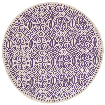 Martins Purple / Ivory Area Rug Rug Size: Round 6