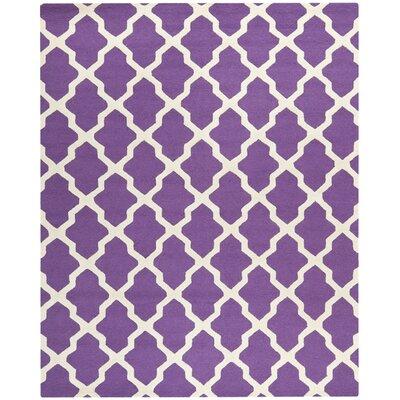 Charlenne Handmade Purple / Ivory Area Rug Rug Size: 10 x 14