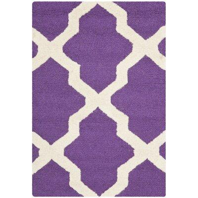 Charlenne Handmade Purple / Ivory Area Rug Rug Size: 2 x 3