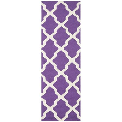 Charlenne Hand-Tufted Purple/Ivory Area Rug Rug Size: Runner 26 x 10