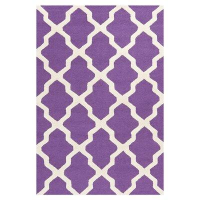 Charlenne Handmade Purple / Ivory Area Rug Rug Size: 3 x 5