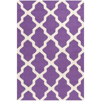 Charlenne Handmade Purple / Ivory Area Rug Rug Size: 4 x 6