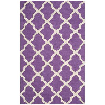 Charlenne Handmade Purple / Ivory Area Rug Rug Size: 5 x 8