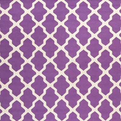 Charlenne Hand-Tufted Purple/Ivory Area Rug Rug Size: Square 6