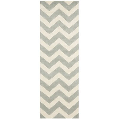 Wilkin Chevron Hand-Tufted Wool Gray/Ivory Area Rug Rug Size: Runner 23 x 9