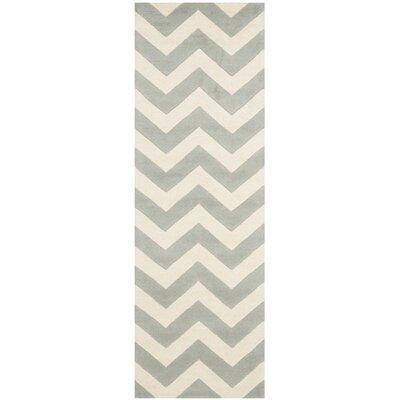 Wilkin Chevron Grey/Ivory Area Rug Rug Size: Runner 23 x 9