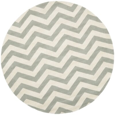 Wilkin Chevron Hand-Tufted Wool Gray/Ivory Area Rug Rug Size: Round 7