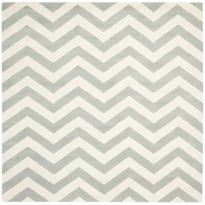 Wilkin Chevron Hand-Tufted Wool Gray/Ivory Area Rug Rug Size: Square 89