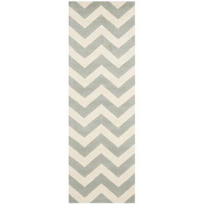 Wilkin Chevron Grey/Ivory Area Rug Rug Size: Runner 23 x 5