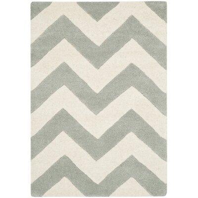 Wilkin Chevron Grey/Ivory Area Rug Rug Size: 2 x 3