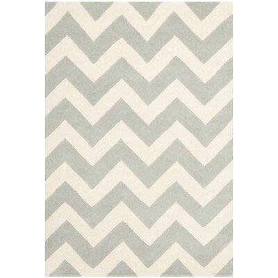 Wilkin Chevron Grey/Ivory Area Rug Rug Size: 4 x 6