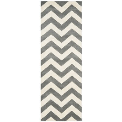 Wilkin Hand-Tufted Wool Dark Gray/Ivory Chevron Area Rug Rug Size: Runner 23 x 13