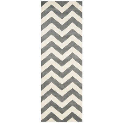 Wilkin Dark Gray & Ivory Chevron Area Rug Rug Size: Runner 23 x 5