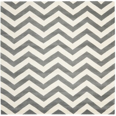 Wilkin Dark Gray & Ivory Chevron Area Rug Rug Size: Square 9