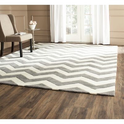 Wilkin Hand-Tufted Wool Dark Gray/Ivory Chevron Area Rug Rug Size: Square 9