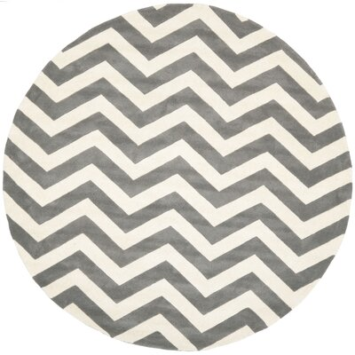Wilkin Hand-Tufted Wool Dark Gray/Ivory Chevron Area Rug Rug Size: Round 7