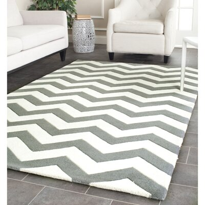 Wilkin Hand-Tufted Wool Dark Gray/Ivory Chevron Area Rug Rug Size: Rectangle 6' x 9'