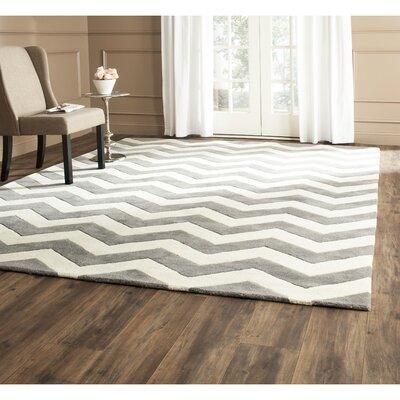 Wilkin Dark Gray & Ivory Chevron Area Rug Rug Size: Square 5