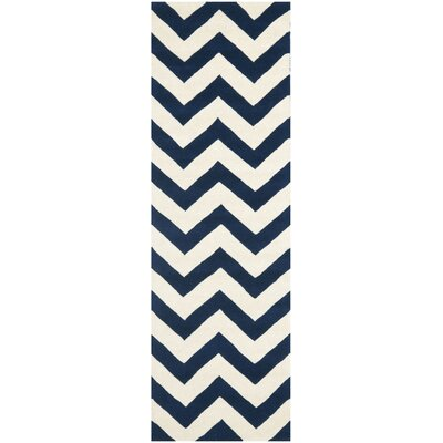 Wilkin Hand Tufted Wool Dark Blue/Ivory Area Rug Rug Size: Runner 23 x 15