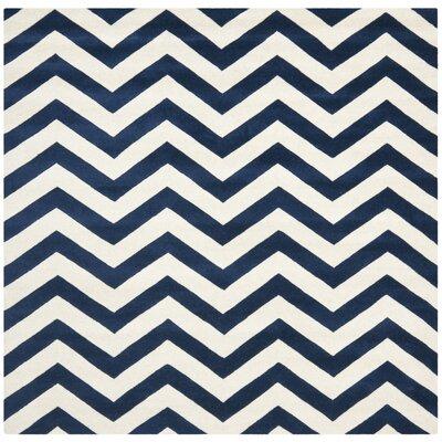 Wilkin Dark Blue / Ivory Chevron Area Rug Rug Size: Square 7