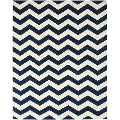 Chatham Dark Blue & Ivory Chevron Wool Hand-Tufted Area Rug