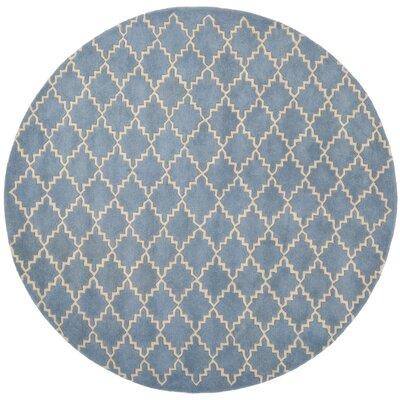Wilkin Blue Grey Area Rug Rug Size: Round 4