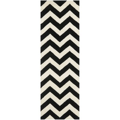 Wilkin Chevron Hand-Tufted Wool Ivory/Black Area Rug Rug Size: Runner 23 x 5