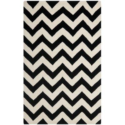 Wilkin Chevron Ivory/Black Area Rug Rug Size: 3 x 5