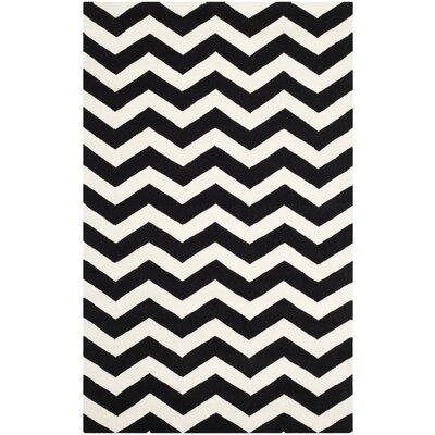 Wilkin Chevron Ivory/Black Area Rug Rug Size: 5 x 8