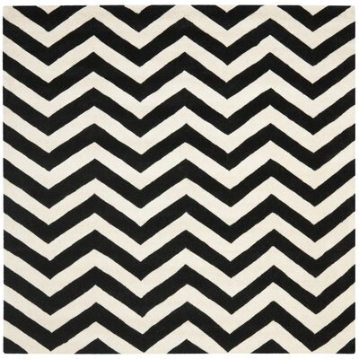 Wilkin Chevron Hand-Tufted Wool Ivory/Black Area Rug Rug Size: Square 9