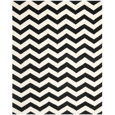 Wilkin Chevron Ivory/Black Area Rug Rug Size: 10 x 14