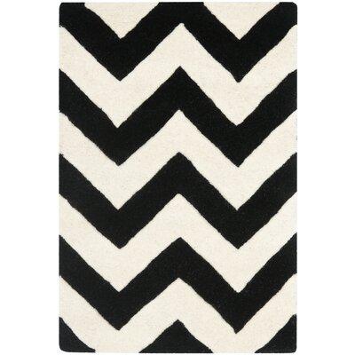 Wilkin Chevron Ivory/Black Area Rug Rug Size: 2 x 3