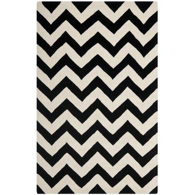 Wilkin Chevron Ivory/Black Area Rug Rug Size: 4 x 6