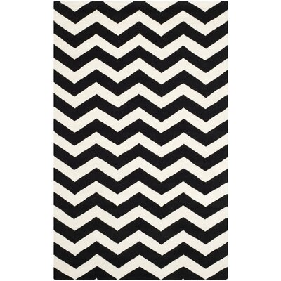 Wilkin Chevron Ivory/Black Area Rug Rug Size: 6 x 9