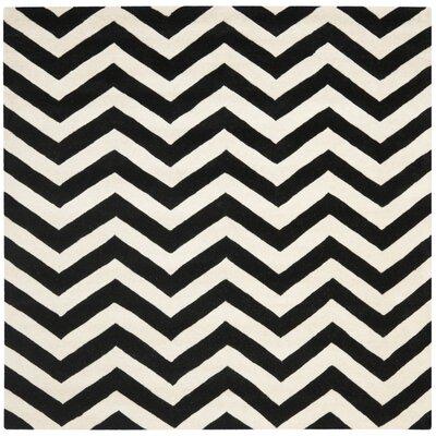 Wilkin Chevron Ivory/Black Area Rug Rug Size: Square 7