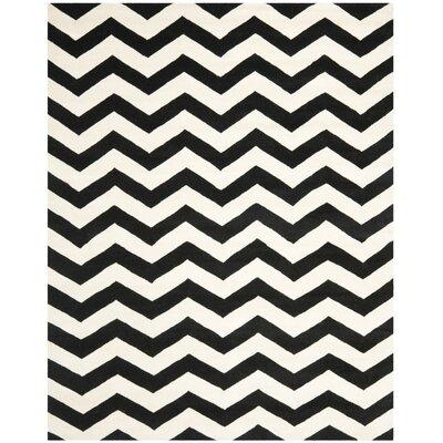Wilkin Chevron Ivory/Black Area Rug Rug Size: 8 x 10