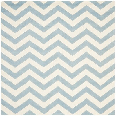 Wilkin Blue & Ivory Chevron Area Rug Rug Size: Square 5