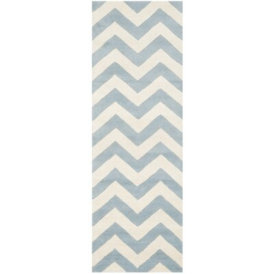 Wilkin Blue & Ivory Chevron Area Rug Rug Size: Runner 23 x 9