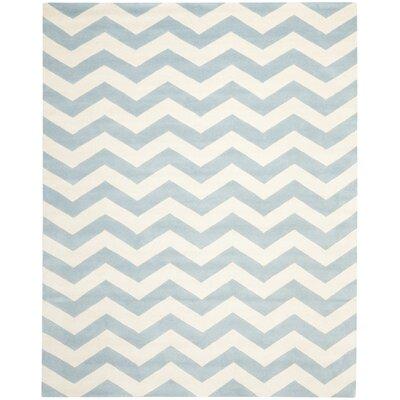 Wilkin Blue & Ivory Chevron Area Rug Rug Size: 2 x 3