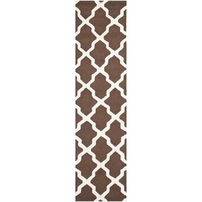 Charlenne Hand-Tufted Wool Dark Brown/Ivory Area Rug Rug Size: Runner 26 x 8
